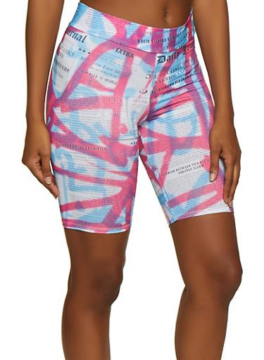 Tie Dye Newspaper Print Bike Shorts,FUCHSIA,large