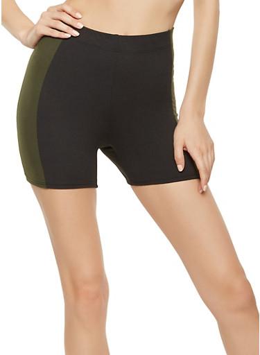 Contrast Trim Shorts,OLIVE,large