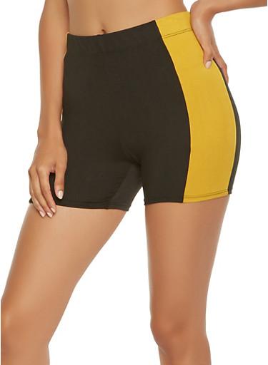 Contrast Trim Shorts,MUSTARD,large