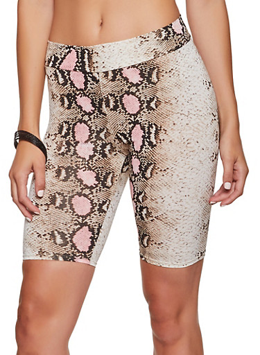 Snake Print Bike Shorts,PINK,large