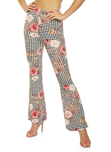 Floral Houndstooth Flared Pants,BLACK,large