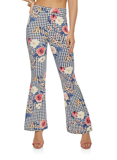 Floral Houndstooth Flared Pants,NAVY,large
