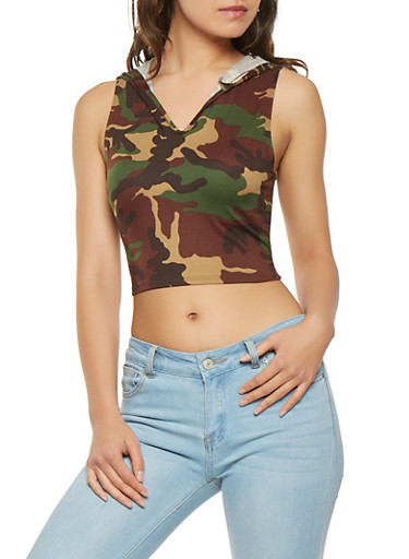 Hooded Camo Crop Top | Tuggl