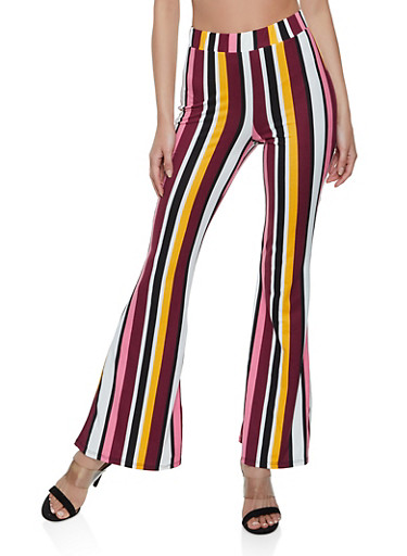 Multi Color Striped Soft Knit Flared Pants,MUSTARD,large