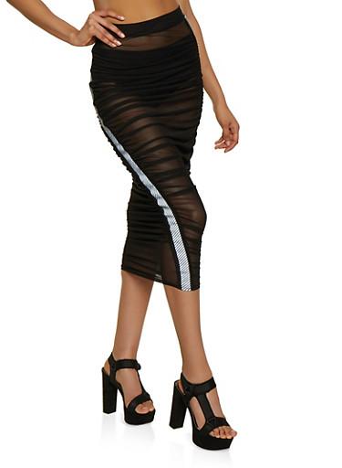 Ruched Mesh Midi Pencil Skirt,BLACK,large