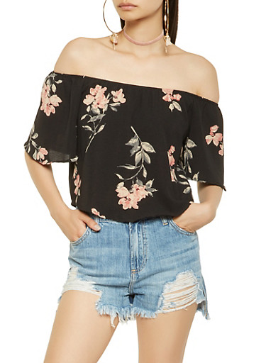 Floral Off the Shoulder Top,BLACK,large