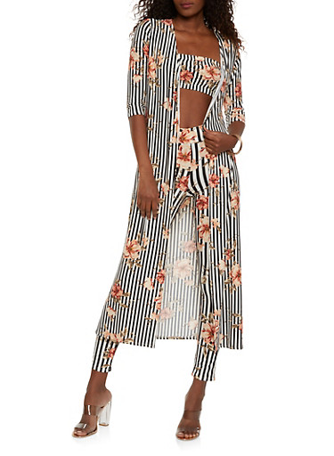 Floral Striped Duster with Bandeau and Leggings,ORANGE,large