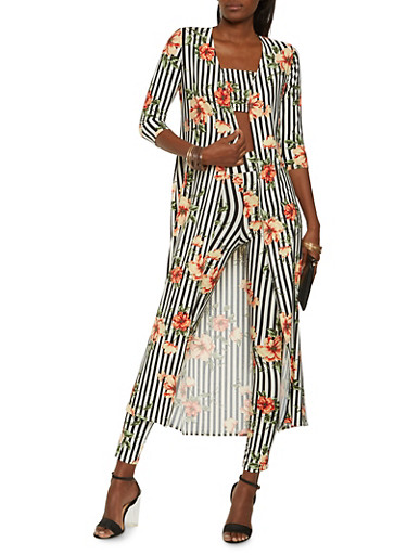 Printed Duster with Bandeau and Leggings,BLACK/WHITE,large