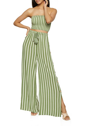 Striped Tube Top and Button Side Palazzo Pants