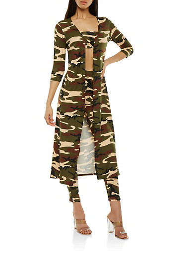 Camo Duster with Bandeau and Leggings | Tuggl