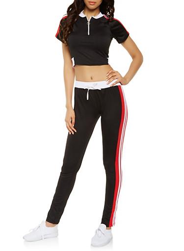 Side Stripe Activewear Crop Top and Pants Set,BLACK,large