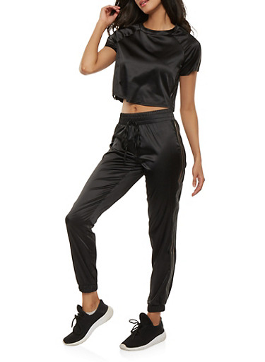 Satin Cropped Tee and Sweatpants Set,BLACK,large