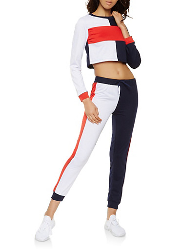 Color Block Cropped Sweatshirt and Joggers Set,NAVY,large