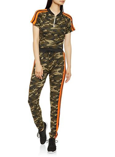Camo Activewear Tee and Pants Set,HUNTER,large