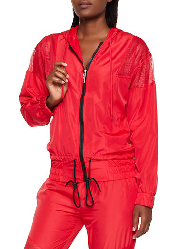 Mesh Insert Windbreaker,RED,large