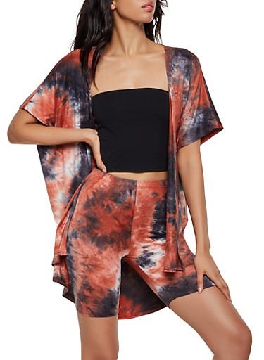 Tie Dye Split Side Kimono,BLACK,large