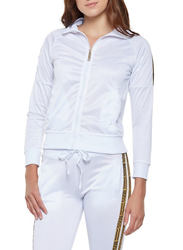 Boss Graphic Trim Track Jacket,WHITE,large