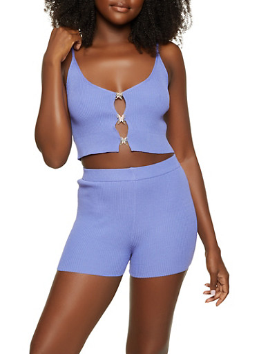 Rhinestone Butterfly Cut Out Cropped Cami and Shorts