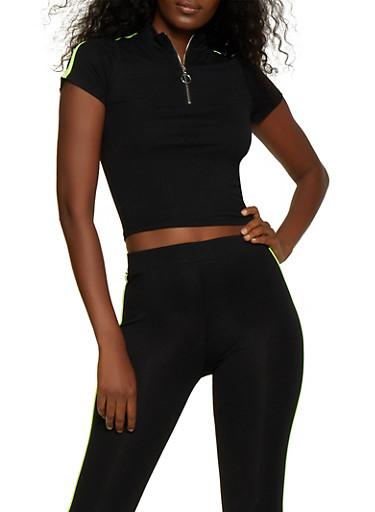 Contrast Trim Zip Neck Top,BLACK,large