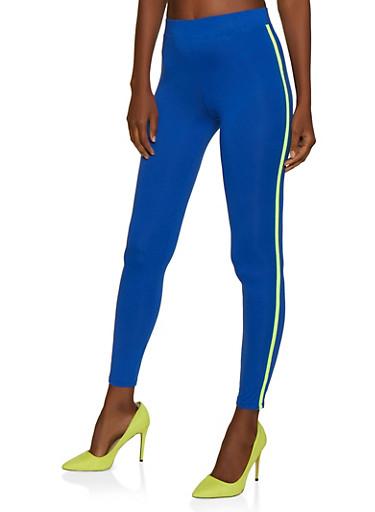 Contrast Trim Leggings,RYL BLUE,large