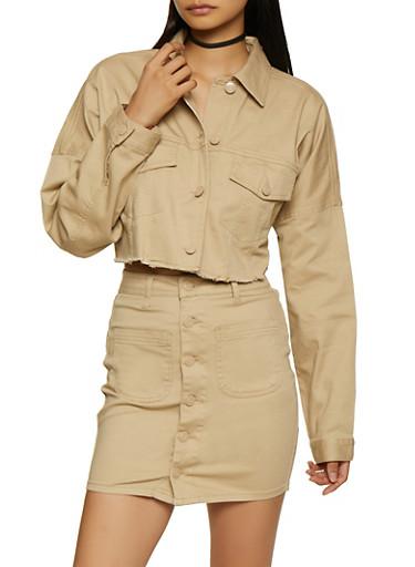 Frayed Cropped Jacket,KHAKI,large