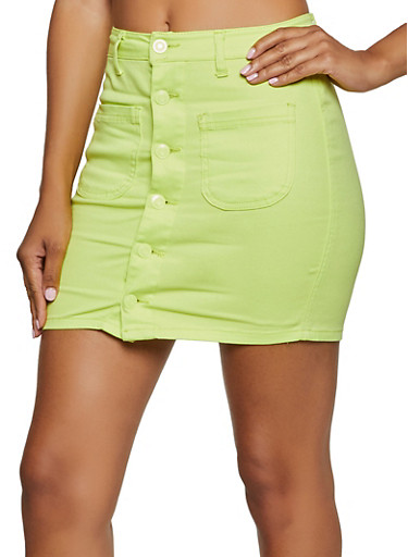Button Front Mini Skirt,LIME,large