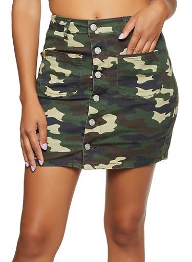 Denim Camo Button Front Mini Skirt,OLIVE,large