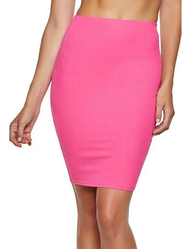 Ribbed Pencil Skirt,PINK,large