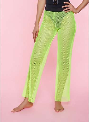Fishnet Elastic Waistband Palazzo Pants,NEON LIME,large