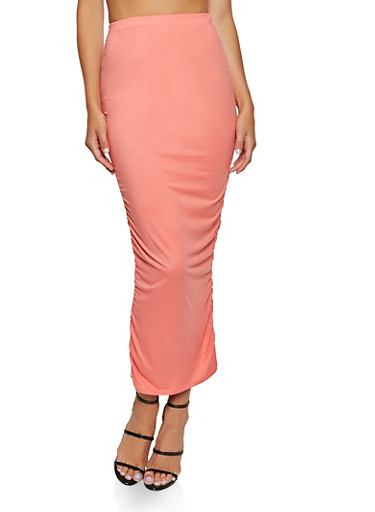 Ruched Soft Knit Maxi Skirt,CORAL,large