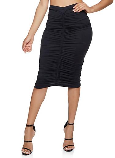 Ruched Pencil Skirt,BLACK,large