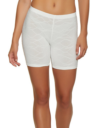Decorative Stitch Bike Shorts,WHITE,large