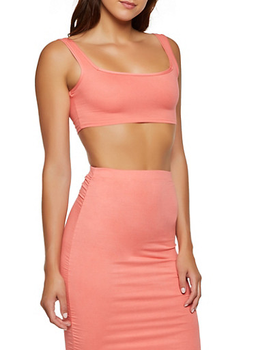 Soft Knit Cropped Tank Top,CORAL,large