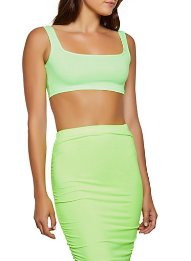 Soft Knit Cropped Tank Top,NEON LIME,large