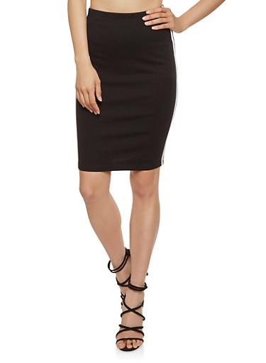 Striped Trim Ponte Pencil Skirt,BLACK,large