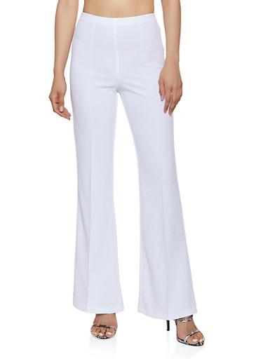 Flared Crepe Knit Pants,IVORY,large