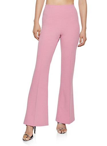 Flared Crepe Knit Pants,PINK,large