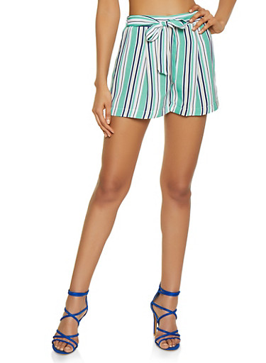 Striped Tie Front Shorts | 3413069390050,GREEN,large