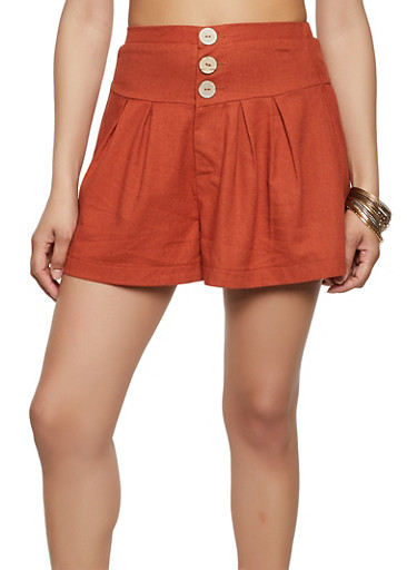 3 Button Waist Shorts,RUST,large