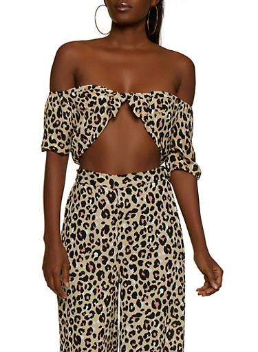 Leopard Off the Shoulder Crop Top,BROWN,large