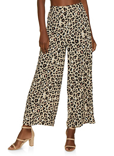 Leopard Palazzo Pants,BROWN,large