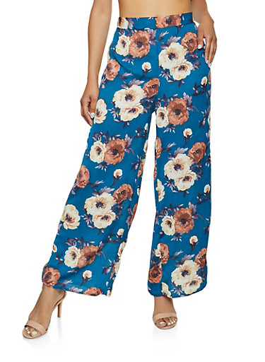 Floral Palazzo Pants | 3413069390483,TEAL,large