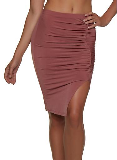 Ruched Side Slit Pencil Skirt,MAUVE,large