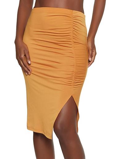 Ruched Side Slit Pencil Skirt,MUSTARD,large