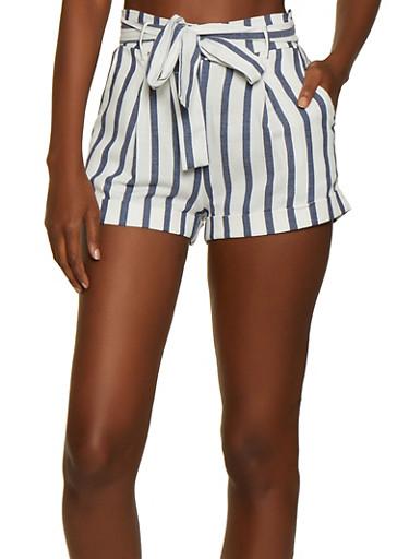 Tie Waist Striped Shorts,NAVY,large