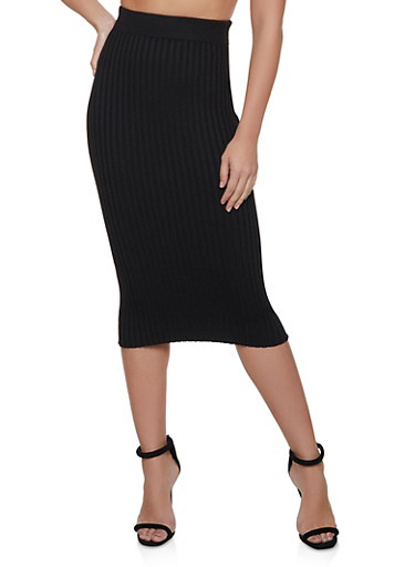 Ribbed Knit Maxi Skirt,BLACK,large