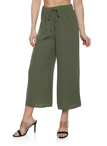 Cropped Solid Palazzo Pants,OLIVE,large