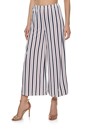 Striped Wide Leg Pants,PINK,large
