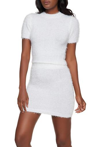 Short Sleeve Eyelash Knit Sweater,WHITE,large