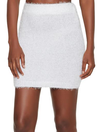 Eyelash Knit Pencil Skirt,WHITE,large